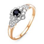 Кольцо из золочёного серебра с нат.сапфиром,фианитами и родированием