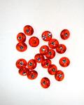 Пуговица со стразом 13 мм,36 шт, красный прозрачный