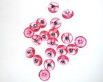 Пуговица со стразом 13 мм,36 шт, ярк розовый прозрачный