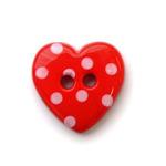 Пуговица сердце в горошек цв красный 72шт