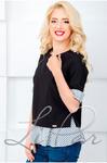 Блуза с манжетой мелкая полоска