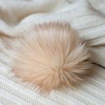 Помпон из искуственного меха 12-14см цв.бежевый