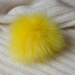 Помпон из искуственного меха 12-14см цв.жёлтый