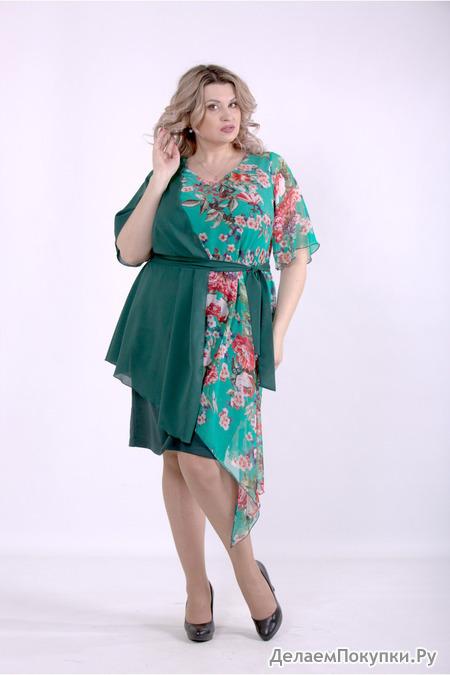 Женское ассиметричное платье с принтом