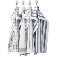 ЭЛЛИ Полотенце кухонное, белый, синий, 4шт * 50x65 см