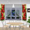 Шторы для кухни Лана красные тюльпаны