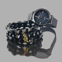 """Комплект """"Черный принц"""" часы+3 браслета+серьги"""