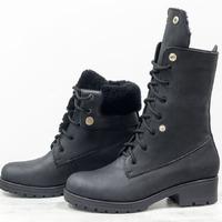 Эксклюзивные женские ботинки трансформеры черного цвета из натуральной матовой кожи с мехом цигейки, на модной тракторной подошве Б-19118-01