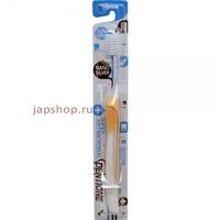 Dentione Зубная щетка со сверхтонкими щетинками двойной высоты и эргономичной прорезиненной ручкой, с ионами серебра, средней жесткости, 1 шт