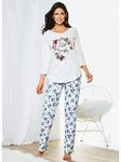 Женская длинная пижама с V-образным вырезом и цветочными брюками