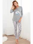 Пижама футболка с длинным рукавом и брюки с принтом