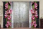 фотошторы+тюль Орхидея на стекле с каплями