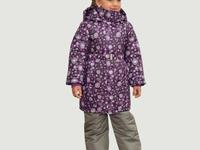 Удлиненная зимняя куртка для девочки, цвет узоры, модель ЗУ68