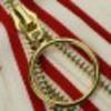 молния мет, белый, красный, кольцо , золото, 18 см