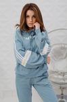 Женская толстовка 55508-1 с полосками серо-голубая