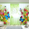 Комплект: Бабочки на тюльпанах + Зелёные узоры с бабочками