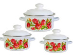 """Набор посуды эмалированной 3 предмета """"Ласковый май"""" (1,5л, 2л, 3л ) белый"""