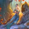 Картина по номерам Paintboy «эльфийка и тигр под деревом»