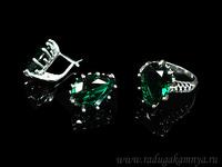 Кольцо серьги с цирконом искусственным, цв.зеленый размер 18 Артикул:КС526857-18