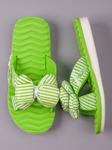 Шлепанцы детские, полосатый бант, зеленый