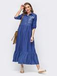 """Льняное платье-макси с вышивкой """"колибри"""", размеры 44-54"""
