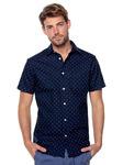 Мужская рубашка с короткими рукавами slim fit с мелким принтом на всем протяжении