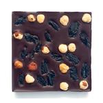 Шоколад горький 72% с фундуком и черным виноградом на финниковом сиропе 50 гр.