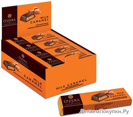 Шоколадные батончики O`Zera Milk Caramel, ряды