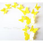 Наклейки на стену Бабочки желтый 3D