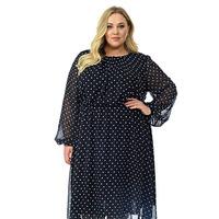 Платье с мягкими защипами по горловине, шифон черный в горошек. размер 50-76