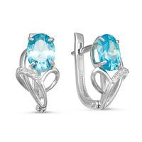 Серебряные серьги с фианитами голубого цвета 288