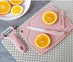 Набор керамических ножей с дощечкой.