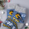 Носки шерстяные детские, желтая птичка, темно-голубой