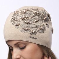 шапка 54-58 см Двухслойная подклад флис - зима Шерсть 50% - Акрил 50%