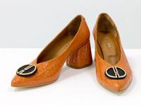 Дизайнерские туфли перчатки (glove shoes) с фурнитурой, на невысоком каблуке, выполнены из натуральной итальянской кожи оранжевого цвета с крупными лаковыми каплями, Новая Коллекция от Gino Figini, Т-2050-09