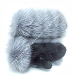 Варежки из чернобурки и норки (Арт.0217)