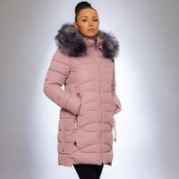 Женская куртка зимняя 1925 пудра искусственный мех
