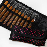 Набор крючков с деревянной ручкой в сумке 0.75-3.0мм 12шт