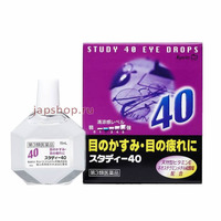 Kyorin Study 40, Мягкие освежающие возрастные капли для глаз, 15 мл