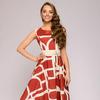 Платье терракотовое длины миди с крупным принтом без рукавов
