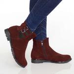 Женские замшевые ботинки с декором (байка/экомех/цигейка - на выбор)