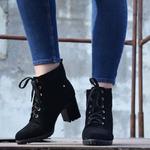 Женские замшевые ботинки на шнуровке (байка/экомех/цигейка - на выбор)