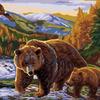 G351 Медведица с медвежонком картина по номерам 40х50
