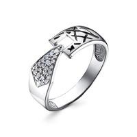 Серебряное кольцо с бесцветными фианитами и эмалью - 1282