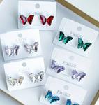 Серьги-гвоздики в виде бабочек с кристаллами арт. 1073565