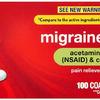 Rite Aid Migraine Relief (Acetaminophen 250mg / Aspirin 250mg / Caffeine 65mg) - 100 Count | NSAID Anti-Inflammatory