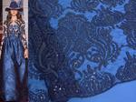 СЕТКА вышитая пайетки 6331 т.синий