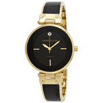 Anne Klein AK/J1414BKGB Women's Stainless Steel with a Black Resin Inlay Black Dial Watch
