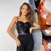 Черный кожаный топ с драпировкой Люси 8273 от It Elle
