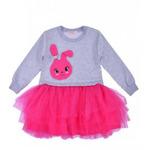 Платье для девочки с длинным рукавом и фатиновой юбкой Зайка